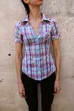 Guess Womens Casual Shirt Multi Short Sleeved Checked Flowers Knit XS
