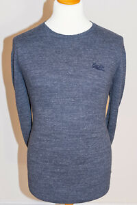 Superdry Premium Cotton Cashmere Thin Knit Crew Neck Long Sleeved Jumper Grey XL
