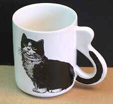 Black and White Kitty CAT Mug Handle Tail Made in TAIWAN FREE SH