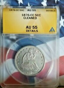 1876-CC Seated Liberty Half Dollar ANACS AU55 Carson City Rare Date   B6