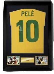 Pele signed On Number 10 Framed Brazil shirt , private signing COA Bid Fr £240
