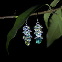 Round Faceted Crystal Glass Beaded Pendant Dangle Earrings Ear Hooks Earwires
