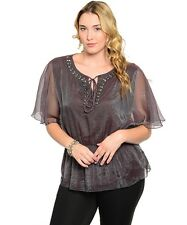 a3c92a6959a Gray Sheer Plus Size Nylon V-Cut Blouse w elastic waist. Size 1XL