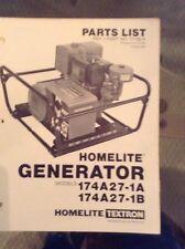 Homelite Generator Models 174A27-1A174A27-1B Parts List