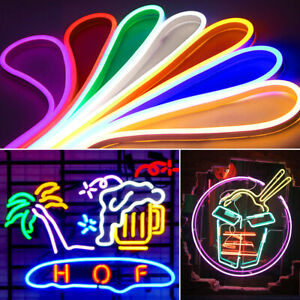 12V NEON LED LIGHT STRIP DIY FLEXIBLE SIGN LAMP SILICONE TUBE ROPE WATERPROOF 0