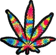 21032 Rainbow Tie Dye Pot Leaf Hemp Weed Marijuana 420 Die Cut Sticker / Decal