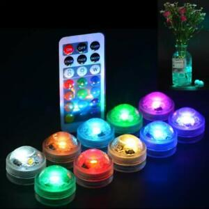 Submersible LED Lights Remote Controlled Underwater Tealight Waterproof  RGB