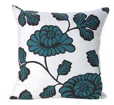 Harper teal black and white floral print cushion cover 43cm x 43cm