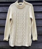 Woolovers Cream Pure Wool Cable Knit Long Jumper Side Splits Button Neck Size M