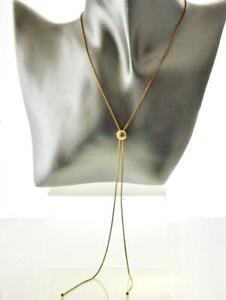 14K YELLOW GOLD CANARY FANCY YELLOW DIAMOND BEZEL BOLO STYLE ADJUSTABLE NECKLACE