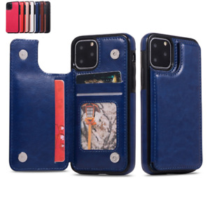 For iPhone 13 12 11 Pro Max XS XR 8Plus Card Slot Leather Wallet Flip Case Cover
