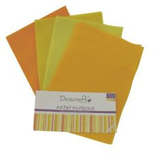 Dovecraft 8 x A4 Felt Sheets Assorted Yellow Colours New