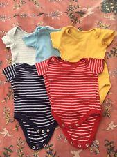 5 John Lewis Organic Cotton Baby Bodysuits 0-3m Unisex