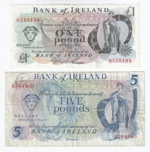A Pair of old Bank of Ireland £1 and £5 Banknotes from the 1980's