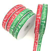 25 Yards/Roll Happy Merry Christmas Decoration Red Ribbon Gift Wrapping 10MM fje