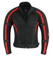 BUSA Black Tab Motorcycle Air Mesh Jacket RED CE 1621-1 Armour Waterproof Liner