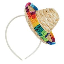 Mexican Sombrero Straw Mini Hat on Headband Day of the Dead Fiesta Adults Kids
