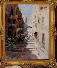 Moderne Kunst Amalfitama E., signiert, Südliche Strasse mit Personen xx