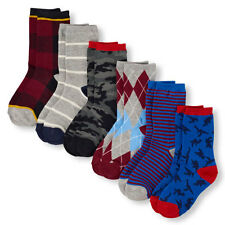 Boys Mixed Print Crew Socks 6-Pack size S (11-13 SHOE SIZES)