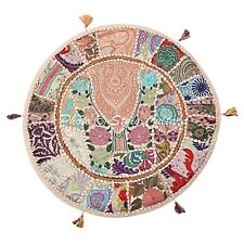 Boho Round Patchwork Floor Cushion Cover Adults Embroidered Cotton 22x22 Vintage
