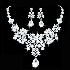 Bridal Wedding Rhinestone Crystal Cubic Necklace Earrings Jewelry Set Prom Party