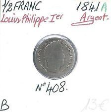 1/2 FRANC - Louis Philippe Ier - 1841 A - Monnaie en Argent // Qualité: B