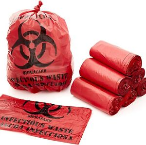 10 Gallon Biohazard Bag for Infectious Waste Trash Liners, Red