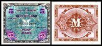 1944 Germany ALLIERTE MILITARBEHORDE 5 Mark Banknote