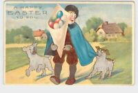 ANTIQUE POSTCARD EASTER DOGS EGGS MAN IN CAPE AND HAT EMBOSSED HAPPY EASTER TO Y