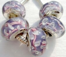 5PCS silver hallmarked Single Core Murano Glass Beads fit Charms Bracelet AOC267