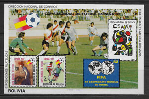BOLIVIA , SPAIN , 1982 WORLD CUP , SOCCER , SPORTS , S/S IMPERF , MNH , CV$30