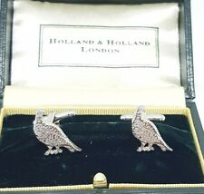 Holland & Holland Cufflinks Silver 925 Shooting/Hunting Pheasants.
