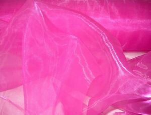 "5 METRES of CERISE 'HOT PINK' ORGANZA VOILE FABRIC+ 54""WIDE + WEDDING+CRAFT+SALE"