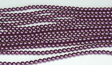 Purple Velvet 4 mm Glass Pearls Beads (50)