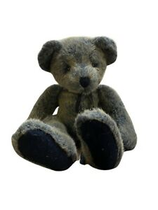 "Russ Berrie Benson Blue Teddy Bear Plush Retired Stuffed Animal Suede Ribbon 16"""