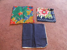Collectible Ladies Handkerchief Set 3 Print Deep Blue Green Red Gold 12-14""