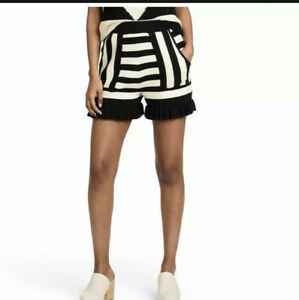 NEW Victor Glemaud Target Women's Striped High-Rise Shorts Black & White XL