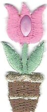 Pink Tulip Flower Pot Embroidery Patch