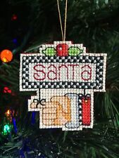 Brand New Completed Handmade Cross Stitch Christmas Ornament-Pointing Santa Sign