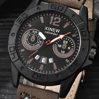 Men's Fashion Date Stainless Steel Leather Quartz Sport Wrist Watches Waterproof
