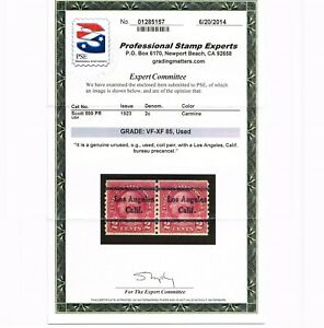 EXCEPTIONAL GENUINE SCOTT #599 USED COIL PAIR PSE CERT GRADED VF-XF LOS ANGELES