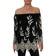 Alfani Womens Black Metallic Embroidered Sheer Blouse Top XXL BHFO 2997