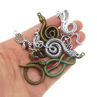 Lot of 9 Vintage Metal Alloy Snake Pendants Charms Mixed Jewelry Findings DIY