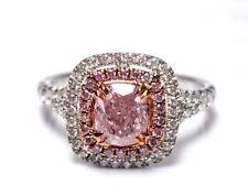 1.21ct Natural Fancy Pink Diamond Engagement Ring GIA 18K White Gold Cushion