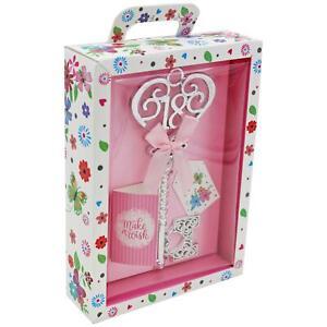 Boxed Silver 18th Birthday Key Keepsake Gift - Female Pink Design