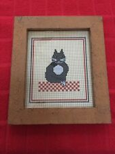 "Framed Petit Point Needlepoint ""Cat� Picture"