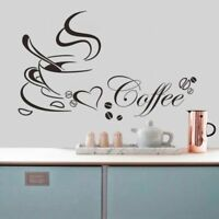Coffee Cup Love Heart Sticker Kitchen Removable Quote Wall Home Decor Decal DIY
