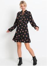 Rainbow Black Floral Print Long Sleeve Studded Dress Size 18 NEW