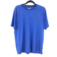 Under Armour Mens Size L Heat Gear Loose Fit Athletic T-Shirt Blue Short Sleeve