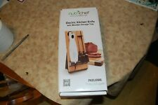 Nutrichef Electric Kitchen Knife with Wooden Storage Tray For Carving & Slicing
